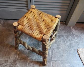 Rustic Footstool, Footstool, Woven, Rustic