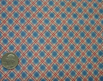 Cute Vintage Feedsack Fabric, Red,White,Blue Small Plaid 30 x 31""