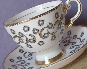 Vintage Tuscan Mid Century Modern tea cup and saucer, Black and White tea cup, English bone china teacup, black & gold tea cup, English tea