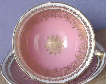 Vintage 1950's Pink daisies teacup and saucer, Royal Grafton pink tea cup, Mid Century bone china tea cup, pink and gold English tea cup