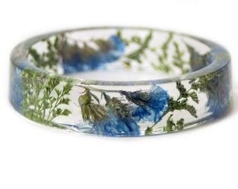 Bracelet -Real Flowers  - Real Flower Jewelry- Flower Jewelry - Blue Flower Jewelry-  Jewelry made with Real Flowers