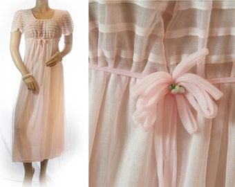 Vintage romantic double layer sheer soft pastel pink nylon feature bodice detail 1960's cap sleeve longer length nightgown nachthemd - 3204