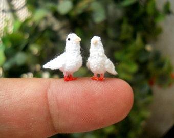Mini White Dove Couple - Micro Amigurumi Miniature Crochet Bird Stuffed Animal - Made To Order