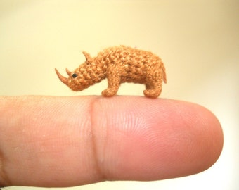 Miniature Rhino - Micro Crochet Stuffed Tiny Animal - Made To Order
