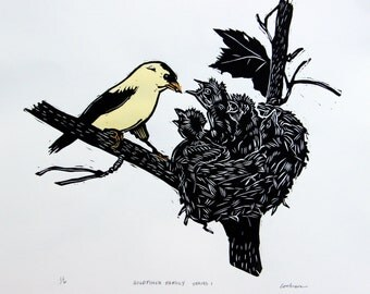 Goldfinch Family woodcut with watercolor