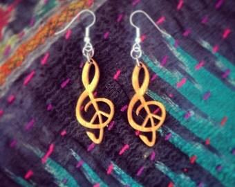 Wood Treble Clef Peace Earrings