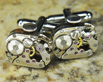 STEAMPUNK Cufflinks Cuff Links - Torch SOLDERED - Antique Silver Rectangular WITTNAUER Watch Movements - Wedding Birthday Gift - Cool Design