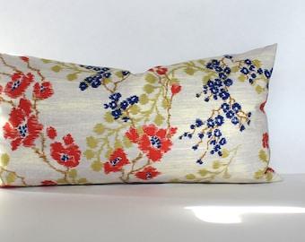 Lumbar Pillow Cover 8x16 Floral Petite Lumbar Coral Blue Celery Green Decorative Pillow Accent Oblong Throw Pillow Cover