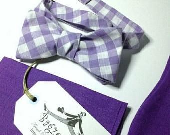 Men's Linen Bowtie, Cotton Bow tie, Pocket Square  - just bowties for men - I am a maker of  mens bowties
