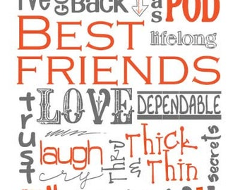 Best Friends Subway Art Digital INSTANT DOWNLOAD digital files set of 5 colors