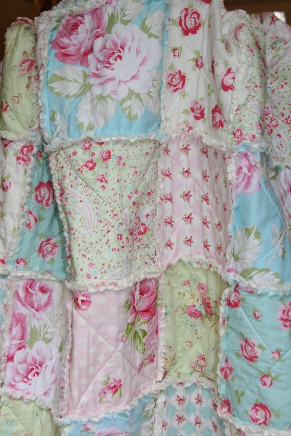 Crib Rag Quilt Baby Girl Crib Bedding Shabby Chic Nursery Pink