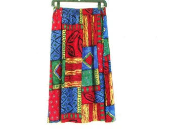 90's TRIBAL MIDI SKIRT vintage pull on breezy Summer bold print ethnic pocket skirt M