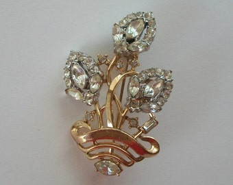 Crown Trifari Bookpiece Brooch Floral Flowers in Pot Rhinestone Encrusted GORGeous 1940 vintage Collectible
