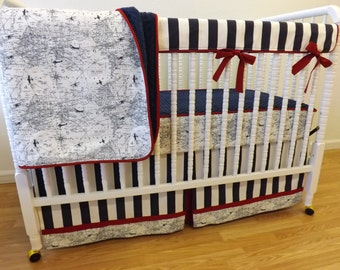 Airplane Crib Bedding- Boy Baby Bedding- BUMPERLESS Airplane Crib Bedding-  MADE to ORDER-  Boy Bedding