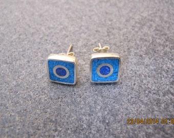 Turquoise Lapis Lazuli Evil Eye Silver Earrings