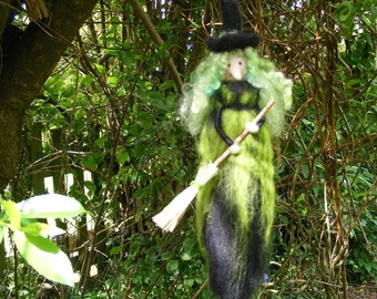 Hanging Green Halloween Witch with her Broomstick