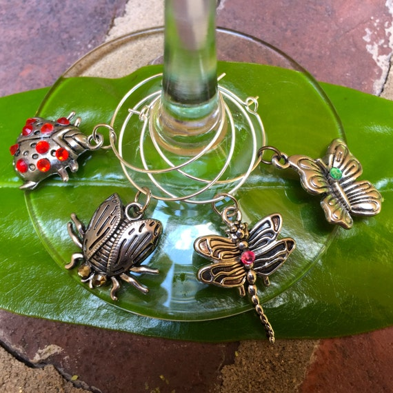 Items Similar To A Bugs Life Wine Glass Charms Lady Bug