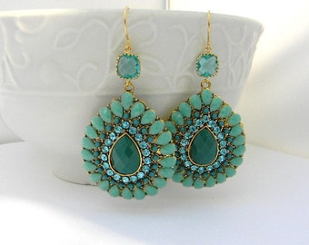 Turquoise Statement Earrings / Large Turquoise Bohemian Earrings / Turquoise and Teal Earrings / Dangle Earrings / Gold Earrings / Gift