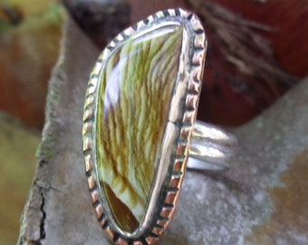 R163--Petrified Wood Ring---size 7.5--Free Sizing--- Gemstone, Vintage Style -Handmade
