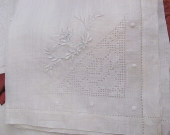 "Set of 4 Vintage Sheer White Fine Linen Napkins 14"" x 14"" Square"