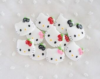 4pcs ((LAST)) Medium Kitty with Strawberry Bows Mix Decoden Cabochon (25x20mm) HKM10007