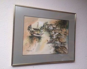 Original Watercolor Painting by CHENG Vintage Asian Chinese Seascape Fishing