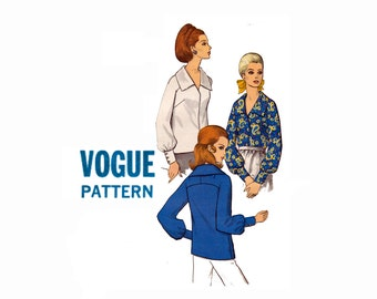 1960s Vogue Blouse Vintage Vogue Sewing Pattern 7549 Size 14 Bust 36 Misses Ladies top