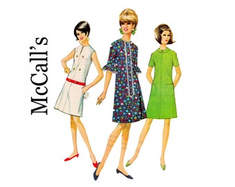 Easy to Sew 1960s Dress with Neckline options Bust 38 Size 18 Mod fashion UNCUT Sewing Pattern 60s dress in three versions McCalls 8726