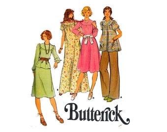 70s Dress Top Skirt and Pants Round yoke A line dress Jewel Neckline Smock Blouse UNCUT Sewing Pattern Butterick 4256 Size 16 Bust 38