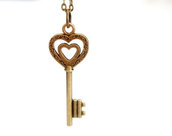 To Your Heart Necklace - Antiqued Brass Vintage Style Skeleton Key Necklace - KR04