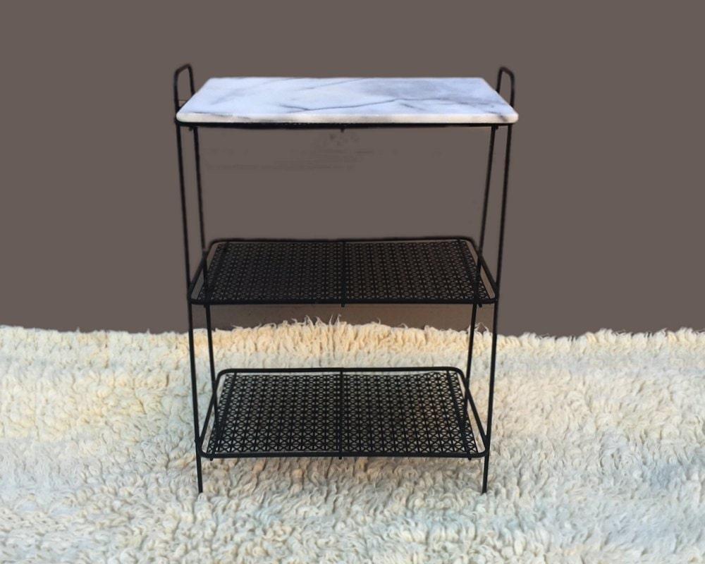 vintage mid century white marble metal wire shelving. Black Bedroom Furniture Sets. Home Design Ideas