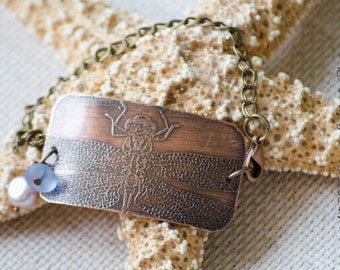 Dragonfly Etched Copper Bracelet