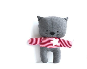 Cat softie kitty softie stuffed animal stuffed cat rag doll cat soft toy plushie softie handmade toy grey white star 25 cm 9.8""