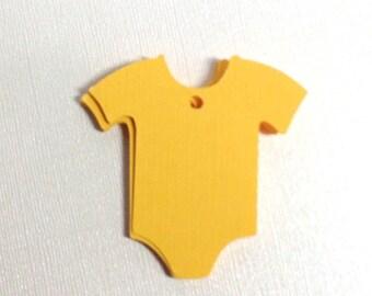 24 Onsie Die Cut Yellow Tags/Baby Shower Onsie Decor/DIY Onsie Cut outs/Scrapbooking/Just Simply Handmade/Bib And Onsie Diecut Set