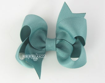 Sea Mist 3 Inch Boutique Hair Bow - Baby Toddler Girl - Solid Color Hair Clip - Green Blue - Toddler Hair Bow
