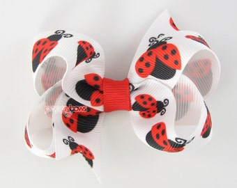 Ladybug Hair Bow - 3 Inch - Hair Clips for Girls Alligator Clip Babies Toddler - Ladybugs Red White Black