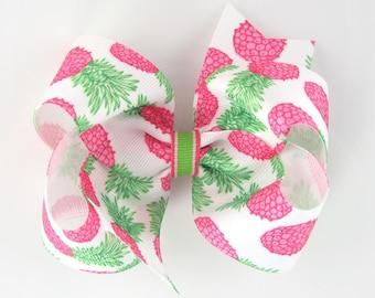 Girls Hair Bow, pineapple hair bow, large hair bows, 4 inch hair bows, girls hairbows, boutique bows, summer hair bows, big hair bows pink