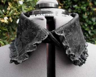 embroidered black satin collar with black lace separate collar detached collar