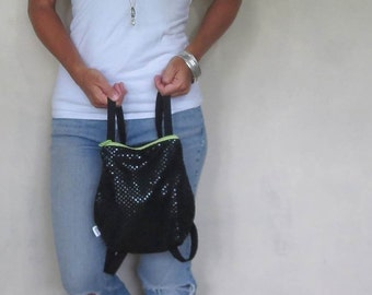 black sequin mini backpack with zipper closure and adjustable straps. design your own choose zipper color.