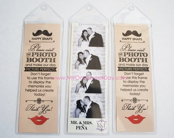 2x6 photo strip bookmark photo booth Party Favor lips and mustache