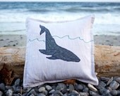 "Humpback Whale Pillow - 14"" Linen Throw Pillow"