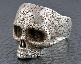 Skull Ring, Mens Custom .925 Sterling Silver Skull Ring