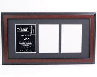 5x7 Mahogany Picture Frames w/ Multi  3 4 5 6 7 Opening Collage Mat to hold 5x7 Photographs for Wedding, Name Sign or Alphabet Photography