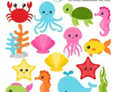 Sea Creatures Clipart Set - sea animals clip art, crab, fish, octopus, turtle, ocean - personal use, small commercial use, instant download