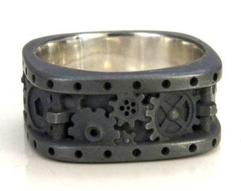Black Steampunk Gear Ring