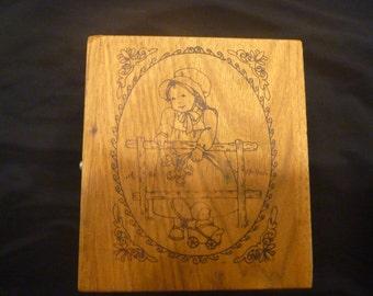 Antique Wooden Children's MUSIC BOX BANK