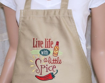 Live Life with a Little Spice Embroidered Logo Pocket Chef Apron MTCoffinz - Ready to Ship