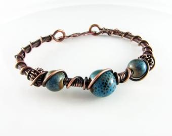 Bangle Bracelet Wire Wrapped Bracelet  Blue Ceramic Beads Copper Bracelet Wire Wrapped Jewelry Copper Bangle