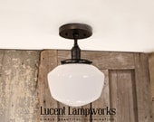 Ceiling Flush Lighting with Opal 8 Inch Schoolhouse Style Shade