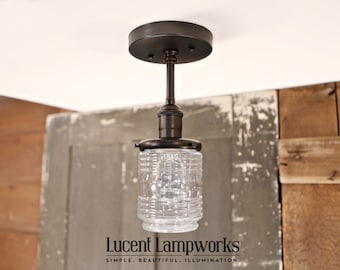 Flush Mount Lighting with Jar Style Glass Shade - Semiflush lighting